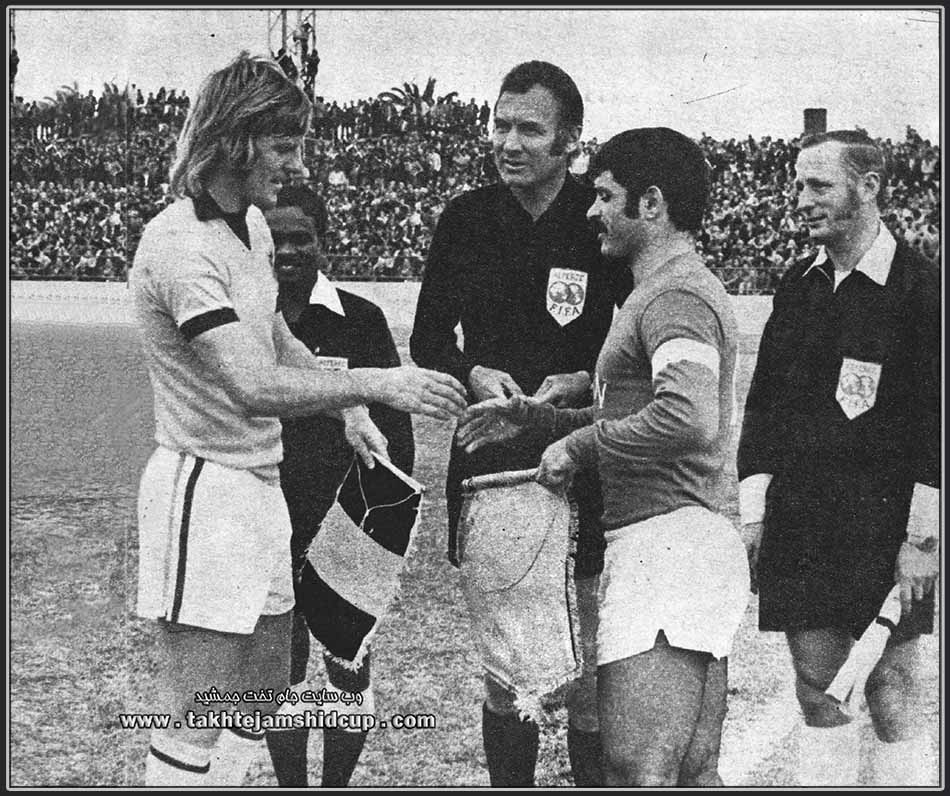 Peter Wilson & Parviz Ghilichkhani australia vs iran 1973 world cup qualification - Rudolf Scheurer ( Swiss soccer referees