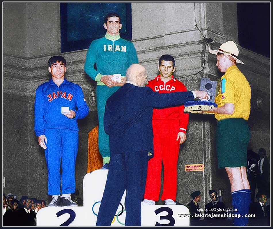Emam-Ali Habibi - Shigeru Kasahara - Alimbeg Bestayev Wrestling at the 1956 Summer Olympics 67 KG Freestyle امامعلی حبیبی بر سکوی المپیک ملبورن 1956